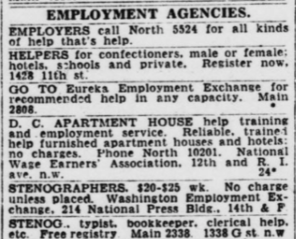 Black and white ad from what appears to be a newspaper listing employment agencies.