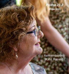 Cover image of Kate Ronald Smiling with Peitho 23/2 and text Remembering Kate Ronald